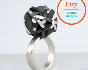 3D printed ring in oxidized sterling silver, geometric 3D printed jewelry
