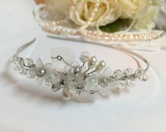Pearl Wedding Headband - Wedding Hair Accessories - Wedding Tiara - Wedding Headpiece - Wedding Hair Flower - Wedding Flower Tiara - Wedding