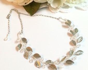 Silver bridal necklace, wedding necklace, bridal necklace crystal, wedding necklace vintage, wedding necklace bridal jewelry, bib necklace