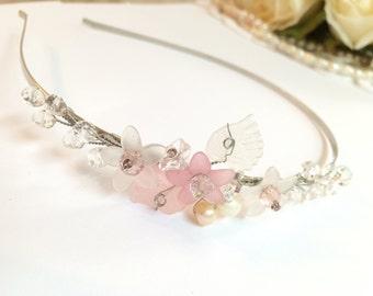 Pearl wedding headband, flower girl headband, wedding tiara, flower girl headpiece, wedding headpiece, wedding hair flower, bridal flower