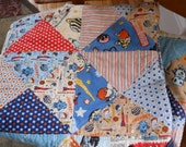 ROCKET AGE BABY Boy Hour Glass Quilt Patchwork Quilt