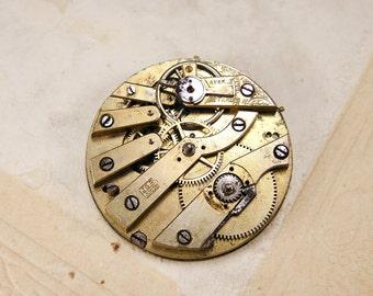 Rare antique brass pocket watch movement - c43