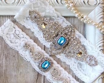 CUSTOMIZE IT - Garter Set - Wedding Garter w/ toss - Turquoise Blue Garter, Something Blue, Crystal Garters, Bridal Garter, Rhinestone