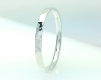 Sterling Silver Flat Wedding Band Hammered 2mm Comfort Line All Us Sizes