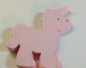 50 Die Cut Shape Unicorns/Scrapbooking/Party Decorations/Labels/Tags/Cupcake Toppers
