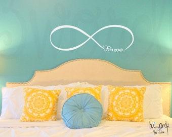 Sm, Md,Lg, Xl & XXl - Infinity, Forever, Love, Vinyl Decal- Wall Art- Master Bedroom, Decor, Room Decoration, Wedding