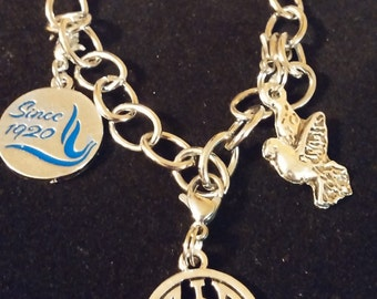 Zeta Phi Beta Sorority Link Charm Bracelet.