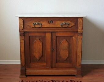 Vintage Marble Top Solid Wood Dry Sink Cabinet