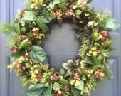 Azalea Wreath, Spring Wreaths, Summer Wreaths, Pink and Green, Spring Door Decor, Front Door Wreath
