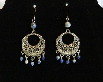 Sterling silver earrings with sodalite beads