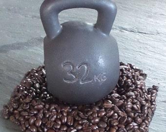 Ceramic Gun Metal Black Kettlebell Coffee Mug 16 or 24 oz ~ Handmade In USA
