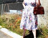 Vintage - Brown Faux Leather Clasp Hand Bag Purse