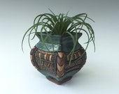 Reserved for BP - Little Hand Built Stoneware Vase - Four sided - Hand Carved - Blue Green Turquoise Brown Tan
