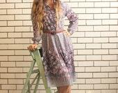 SALE WAS 35 - Purple Floral Boho Vintage Dress