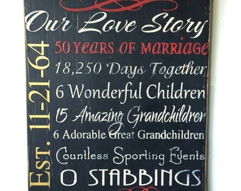 Golden Anniversary Sign, Anniversary Gift, Wedding Gift, Our Love Story Sign, Custom Love Story Sign, Wedding Anniversary Sign