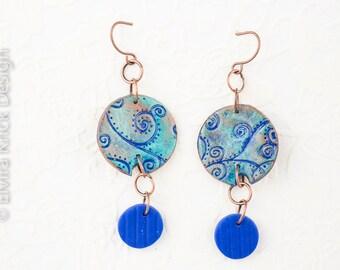 Blue earrings, dangle handmade earrings, blue clay earrings, handmade polymer jewelry, fimo jewelry, Dutch Design