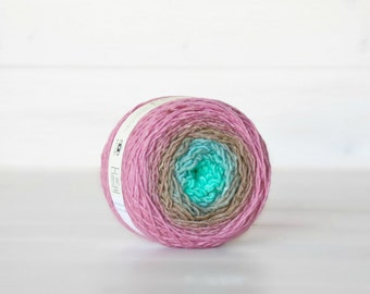 Hand Dyed Gradient Yarn - 100% Wool - Color: Neapolitan Ombre - 1Ply Sport Yarn - Mint Color Yarn by Freia - Rose Wool Yarn - Gradient Yarn