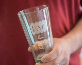 Custom Father's Day Etched Beer Glass Pint Size