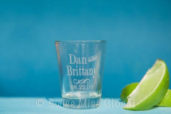 Set of 24 Custom Etched Shot Glasses Personalized  Wedding Favor Groom's Men Gift