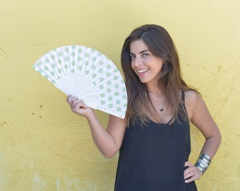 HAND FAN | 50s retro style polka dots on white background | wedding fans | bridal accessories | bridesmaid gift | Free Shipping Worldwide
