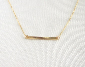 Simple Gold Bar, 14k Gold Fill Chain, Dainty Modern Clean Look Everyday Jewelry Minimal