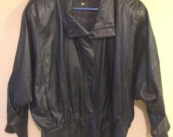 LJ's Black Leather Jacket - Women's Size S with Batwing Dolman Sleeves