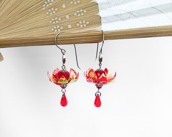 FREE SHIPPING, EA22 Sakura Red Lotus Origami Paper Earrings, FA39RED, Gift Under 25, Asian, Wedding Daily Party Special Event