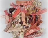 Ladies Hair Ties - Coral, Peach, Ivory, Brown - 10pc/20pc Grab Bag, Mix of Prints, Metallic - Hair Tie Bracelets - Teen Girls, Women, Gift