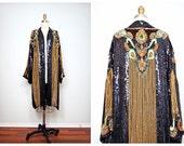 Reserved ** VTG Gold Sequin Kimono Jacket / Bohemian Novelty Open Kaftan / Black & Gold Vintage by Judith Ann Creations O/S