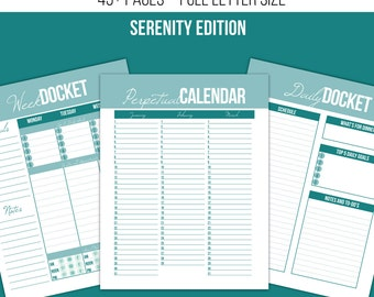 Planning Printables Kit - Full Letter Size - Serenity Edition