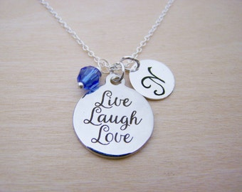 Live Laugh Love Charm Necklace -  Swarovski Birthstone Initial Personalized Sterling Silver Necklace / Gift for Her - Love Necklace