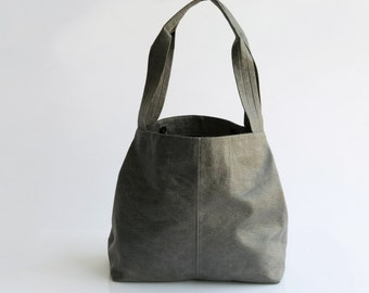 Leather Tote Bag - Distressed Gray Leather Vegan Bag - Casual Tote - Office Bag - Slouchy Tote - Women Bag