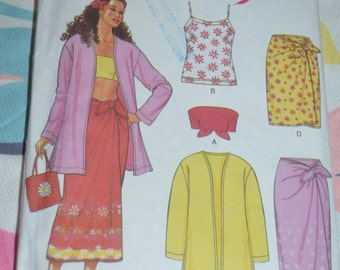 New Look  6874 Misses' Sarong Skirt, Tank, Tube Top & Jacket Sewing Pattern  UNCUT size 6 - 16