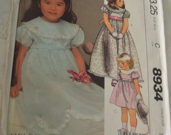 McCall's 8934  Children's Dress and Tie Belt Sewing Pattern - UNCUT - Size 3-  Special occasion dress