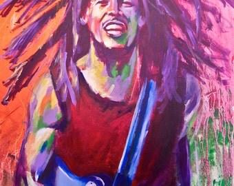 "Bob Marley Reggae Poster 12""x18"" Musician Guitar Celebrity Print Wall Art Colorful Abstract Pop Art"
