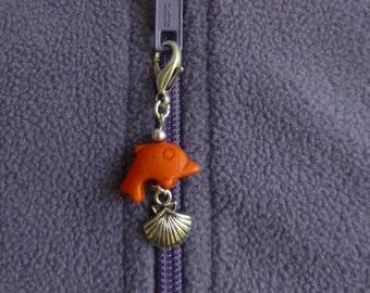 Dolphin zipper pull, orange zip pull charms,  UK shop.