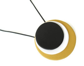 Large leather Circle Necklace, Statement Necklace, Colourful Jewellery, Yellow Necklace, Black Necklace, Gift For Her