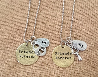 Set of 2 best friends necklace, personalized hand stamped necklaces, custom best friends necklaces