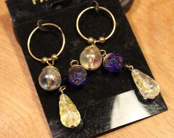 Gold Loop Earrings with 3 Different Replaceable Stones, item #182