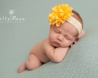 FREE SHIPPING! Newborn Headband - Yellow Headbands, Baby Headbands, Flower Headbands, Yellow Baby Headbands, Yellow Newborn Headbands
