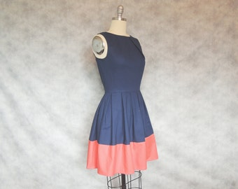 Pure Class Dress- Navy Blue and Coral Classy Elegant Pleated Vintage Inspired Dress