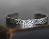 ON SALE Sterling Silver Cuff Bracelet, Hammered, Textured, Bark, Destroyed, Brushed Patina, 7mm Wide, 14 gauge