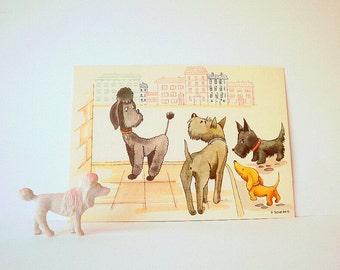 Vintage Post Card. Vintage Illustration. Cute Dogs, Vintage Ephemera, Unused Post Card. Illustrated Dogs..