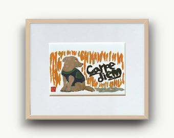 Carpe Diem Art Print, Inspirational Quote, Carpe Diem Decor, Seize The Day, Dog Art