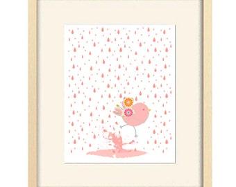 baby bathroom art, baby girl nursery, children's art, bird print, baby decor, nursery decor, pink nursery art, pink nursery decor, kids bath