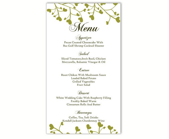 menu printable template