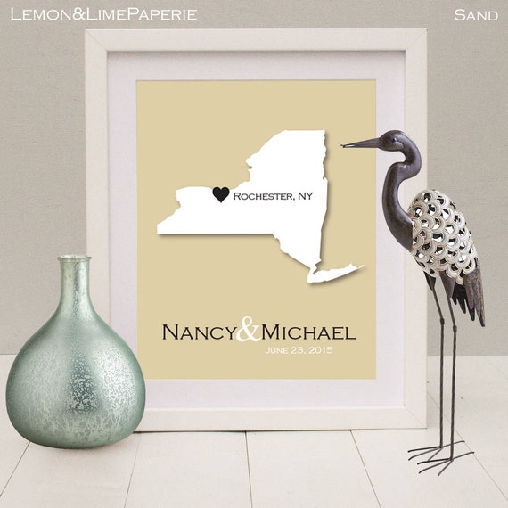 New York State Wedding Gift, New York State Map Print, New York Art ...