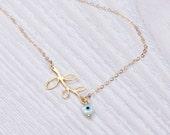 Evil eye necklace / Leaf necklace / Gold branch necklace / Laurel leaf / Bridesmaid necklace / Silver leaf necklace / Gold necklace   Leneus