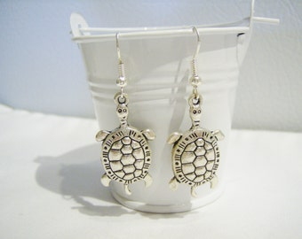 Metal turtle earrings - turtle charm earrings - turtle jewelry - charm earrings - turtle charms - turtles - ocean beach marine sea life