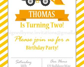 Printable Tractor Construction Birthday Invitation - DIY Printing - JPEG File